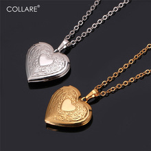 Collare Memory Photo Locket Pendant Valentine's Day Gift Love Heart Necklace Women Gold/Rose Gold/Silver Color Wholesale P570(China)