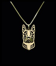 Gold & silver 1pcs Boho Chic Alloy Boston Terrier necklace fashion cartoon dog pendant Silver gold two colors plated(China)