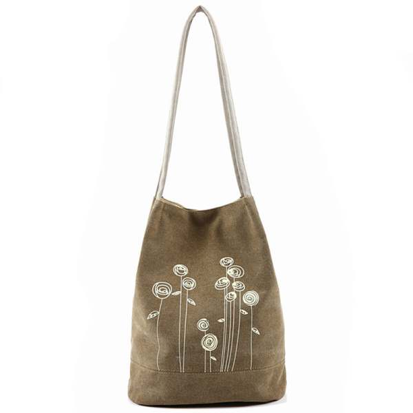 TEXU Spring Summer women canvas Shoulder Bag Canvas Women Handbags Bucket Casual Female Floral Tote Bag