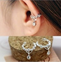 Punk Ear Cuff Wrap Earrings No Piercing Fashion Vintage Jewelry Rhinestone Water Drop Ears Cuffs Clip Earrings For Women