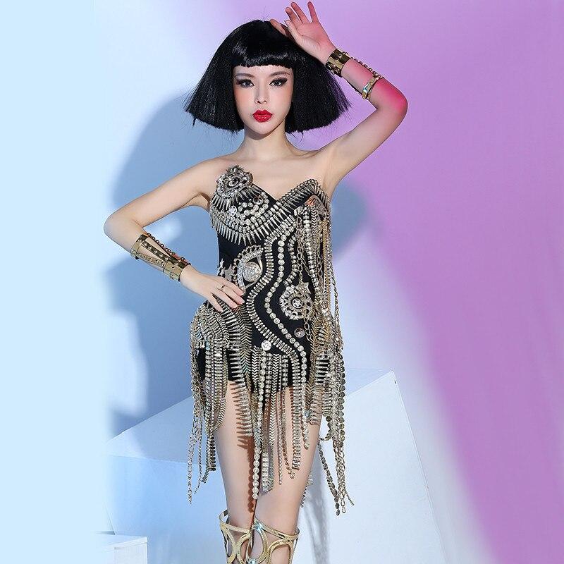 Nightclub female singer dj white punk ds rivet costume three-piece stage costume9