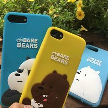 HOT 2017 Super Famous 3D Cartoon Animal Lovely we bare bear women soft silicone phone case cover for iPhone 5 5s SE 6Plus 6sPlus