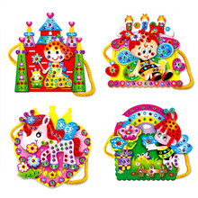 1pcs Colorful Kids Baby Assembly Toy EVA Cartoon DIY Handmade Handbag Bag Diamond Educational Toys for Girls Random Pattern