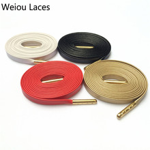 (5pairs/lot)Weiou Luxury Flat Leather Sneaker Shoe Laces Metal Tips Genuine Sheepskin Goat Shoelaces 6 Colors For Sneakers Boots(China)