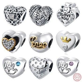 АЗИЗ BEKKAOUI Любви в форме Сердца Бисер Fit Pandora Браслет Diy Ожерелье Стерлингового Серебра 925 Оригинальный Европейский Кристалл Сердце Шарм