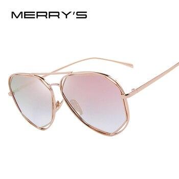 MERRY'S Moda Twin-Vigas de Revestimento Das Mulheres Óculos de Sol Clássico Marca Designer Espelho Lente Plana Verão Shades S'8492