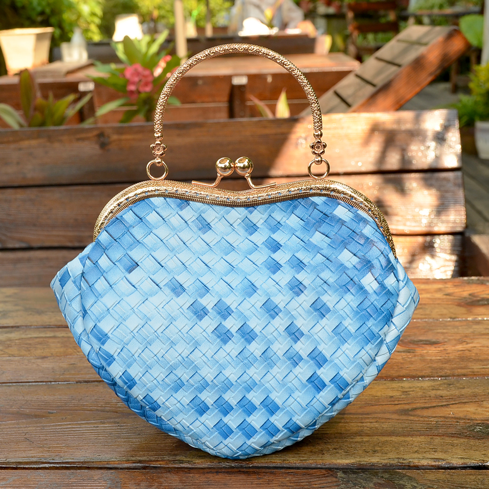 Womens blue  handmade knitted heart shape clasp purse girls tote shoulder cross body exquisite mini bag money phone handbags<br><br>Aliexpress