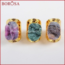 BOROSA Druzy Gold Color Galaxy Quartz Titanium Rainbow Chalcedony Band Ring for Women, Drusy Stone Ring Gems Jewelry G1339