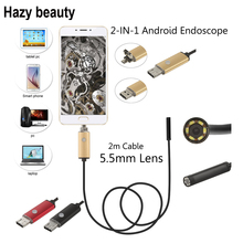 Hazy beauty USB Car Endoscope PC Android Endoscope 5.5mm Lens USB Endoscope Camera Waterproof Inspection Borescope Micro OTG(China)