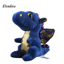 Elsadou Ty Beanie Boos Blue Dinosaur Plush Toy Doll(China)