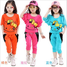 2014 Sale Meninas Vestir New Arrival Fashion Cute Hello Kitty Children Clothing T-shirt +pants Kids Suit Clothes free Shipping