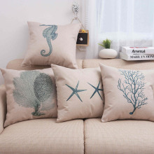 Marine life  Aquatic plants Sea horse Sea Star Pillow Case Cotton Blend Linen Cushion Cover Sofa Decorative Square 18 Inches