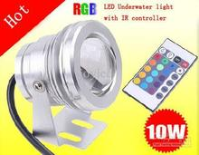 10W 12v underwater RGB Led Light 1000LM Waterproof IP67 fountain pool Lamp Lights16 color change + 24key IR Remote controller