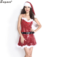 Lady Sequins Xmas Dress Women Christmas Red Santa Claus Velvet Costume Outfit Sexy Cosplay Role Play Outfit Suit Aug30