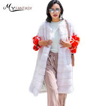 M.Y.FANSTY2017 Winter Print Flower Mink Full Sleeve Coat O-Neck Real Fur Contrast Color Tight Waist Women X-Long Slim Mink Coats(China)