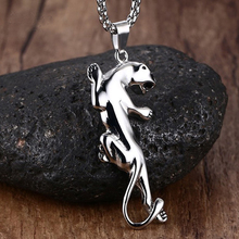 Men Necklaces Stainless Steel Jaguar Cheetah Collar Pendant for Men Animal Choker Kettingen in Silver-color Jewelry Kolye(China)