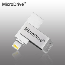 Micro Drive Metal Rotate USB FLASH Drive for MFi Memory Stick 8G 16G 32G 64G Pendrive For iPhone/ipad/PC USB2.0 External storage