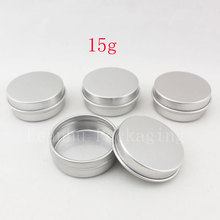 15g aluminum empty cosmetic container with lids 15ml small round lip balm tin solid perfume cosmetic packaging jar sample bottle(China)