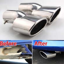 2pcs/1Pair Car Stainless Steel Rear Turbo End Tip Pipe Exhaust Muffler Fit For Honda Civic 2016 2017 Car Styling Car Accessories(China)