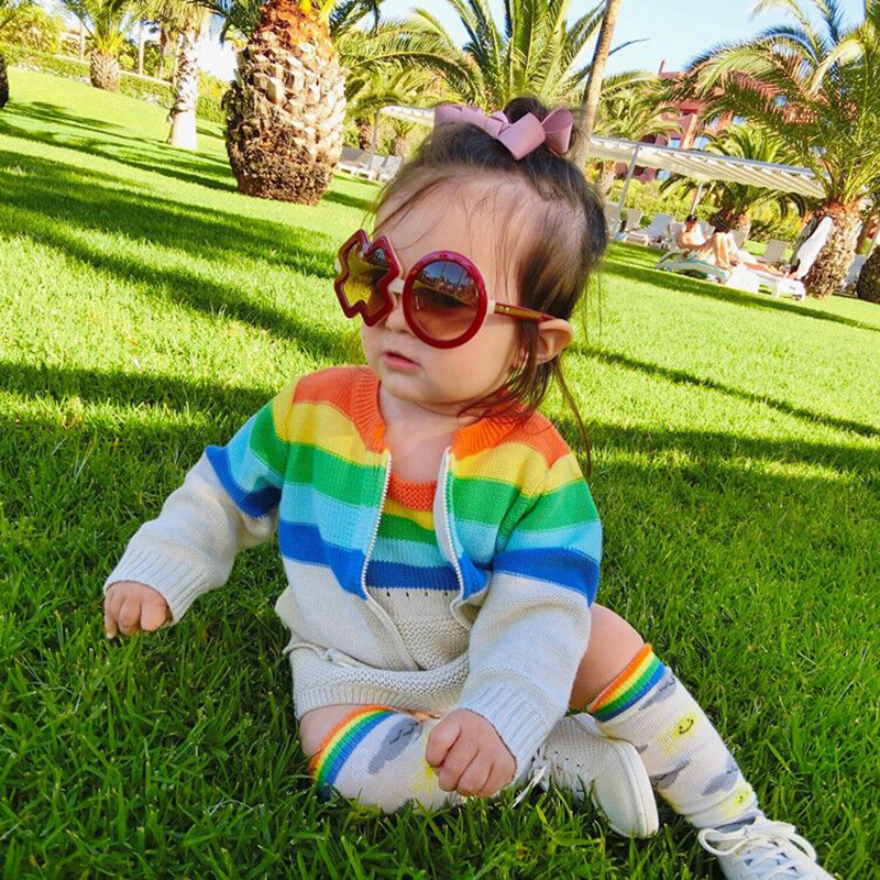 Fashion 2017 Autumn Girls Clothing Sets Rainbow Girls Cardigan+Baby Knitted Rompers Children Outfits Sets For Kids Girls Clothes<br>