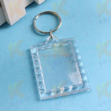 Free Shipping Hot promotion DIY acrylic blank photo keychain photo frame key ring chain 3pcs/lot(China)