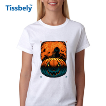Tissbely Halloween Women Print T Shirt Halloween Canvas and Halloween Scary Girl Graphics Tees Youth Girl Halloween Tops(China)