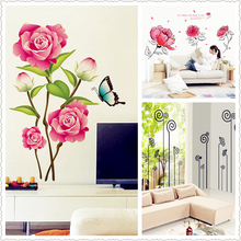 new 3D Pink flower/butterfly flower ink painting Wall Stickers kitchen Home Decor living room bedroom Windows Restaurant PVC *