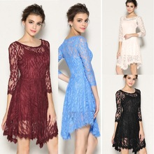 Sexy 3/4 Sleeve Lace Women Cocktail Party Dress Asymmetric Hem UK Local Shipping(China)