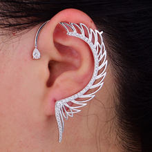 1PC Angel Wing Ear Cuff Cubic Zirconia Women Wedding Party Movie Star Red Carpet Earring Boucle d'oreill(China)