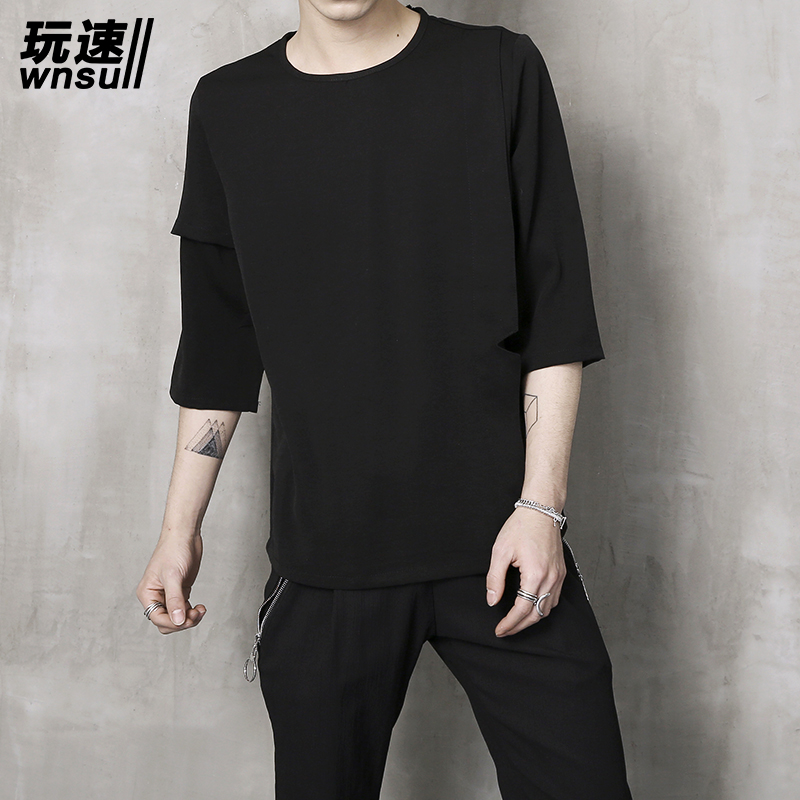 M-6XL!!  2018    Big yards   Summer fashion male loose half sleeve t-shirt trend o-neck fifth sleeve t shirt basic shirt