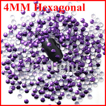 [ Retail ]Hot selling beauty  4MM hexagonal shape purple corlor 1000pcs nai art decorationsfree shipping