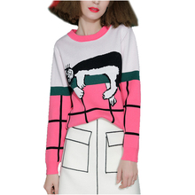 NYMPH 2017 New Fashion Casual Women's Sweaters and Pullovers Knitted Long Sleeve O-neck Sleepy Kitty Patchwork Jumpers Female(Hong Kong)