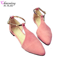 2016 NEW Fashion Woman Flats spring summer Women Shoes top quality T-strap women sandals suede comfort Flat plus size ALF192