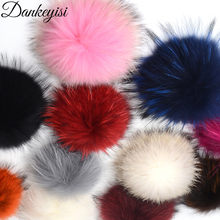 DANKEYISI Wholesale 5pcs 100% Real Fur Pompoms 17cm DIY Raccoon Fox Fur Pom Poms Fur Balls For Hats Cap Scarf Shoes Accessories(China)