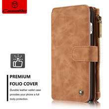 CaseMe Brand Luxury Flip Leather  Mobile Phone Case For iPhone 7 6 6S Plus 5S SE Card Slots Wallet Magnet Removable Cover 007#