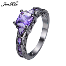 JUNXIN Purple Finger Rings Fashion Jewelry 10KT Black Gold Filled Zircon Ring For Women Birthday Gift High Quality