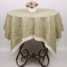 New Arrival Green Leaves Table Cloth Restaurant Coffee Bar Cotton Tablecloth Home Decorative Dustrpoof Cover(China)