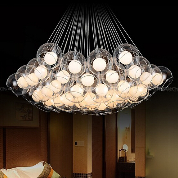 hanging lights for dining room Round clear balls droplight Stars soap Bubble pendant lighting glass shades<br>