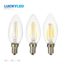 LUCKYLED Brand LED bulb E14 2W 4W 6W AC220V Glass shell 360 Degree vintage LED candle light C35 edison LED Filament lamp(China)