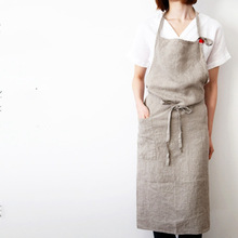 High-end Japanese korea apron linen fabric simple fashion art attendant beautiful salon nail aprons