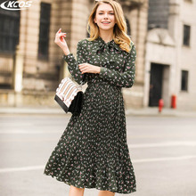 2017 new romantic summer vacation elegant floral round neck long sleeve dress Lace-up dress