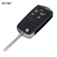 KEYYOU Uncut Modify 4 5 Button+Panic Flip Folding Remote Key Shell For Chrysler For Dodge For Jeep Switch blade Fob