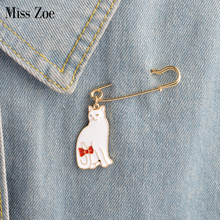 Miss Zoe Black white Cat Kitten tail Bow tie Brooch Denim Jacket Pin Buckle Sweater Badge Cute Animal Gift for Girlss