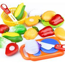 Dropshipping 12 Pcs Set Kids Kitchen Toy Plastic Fruit Vegetable Food Cutting Pretend Play Early Educational Children Toys(China)