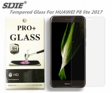 SIJIE Tempered Glass For HUAWEI P8 lite 2017 / honor 8 lite Screen Protector front stronger 9H thin discount with Retail Package