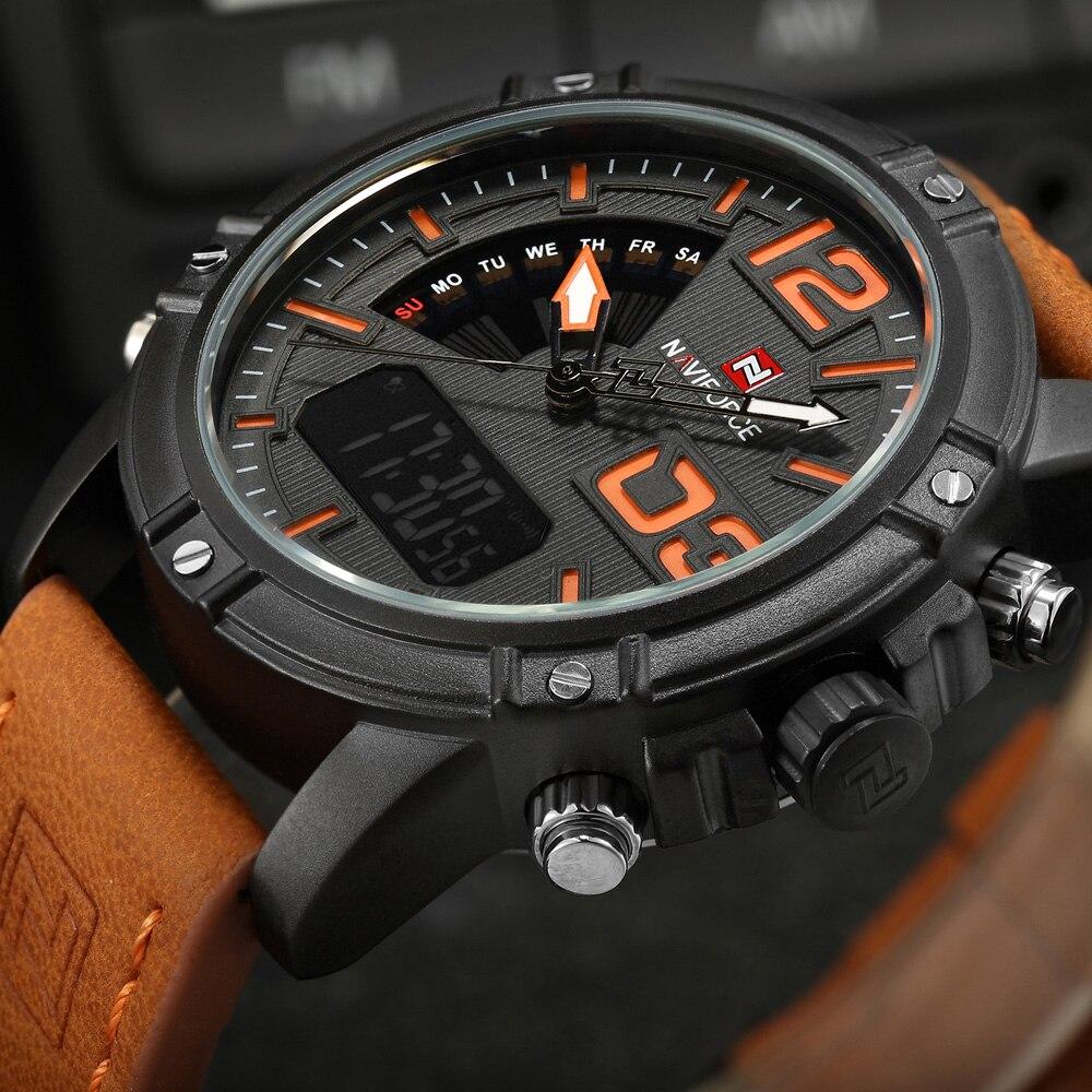 NAVIFORCE Mens Watches Top Brand Luxury Analog Quartz Digital Watch Leather Clock Man Sports Military Watches Relogio Masculino<br><br>Aliexpress