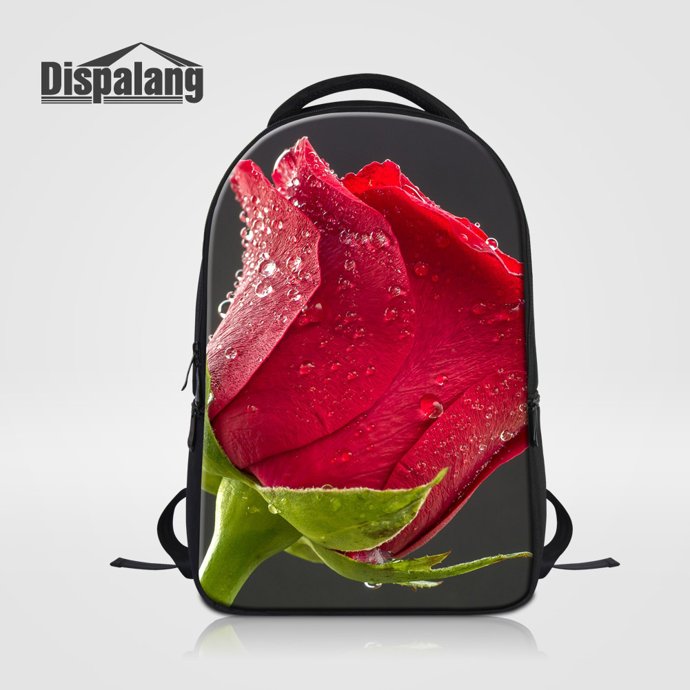 Dispalang Designer School Bags For College Students Rose Floral Print Ladies Travel Laptop Backpack Youth Girly Mochila Feminina<br>