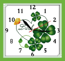 Innovation items needlework kit DIY home decoration counted cross stitch kit clock embroidery set - Four-leaf clover clock face(China)