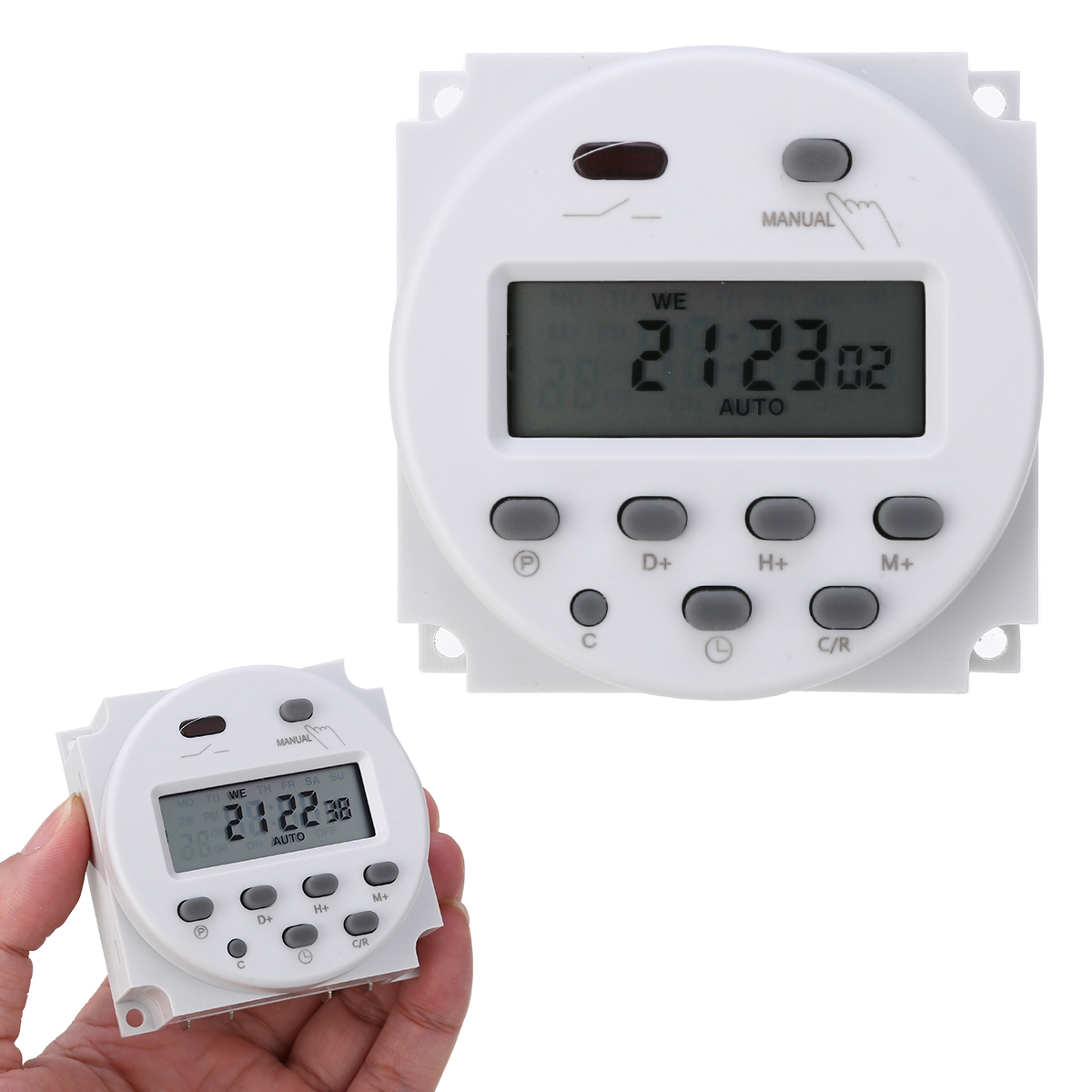 LCD Digital 12V DC 7 Days Programmable Timer Switch With Daily Programs Relay Inside Automatic Time Error Correction