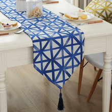 New European Style Vintage Blue Yellow Purple Gemoetric Table Runner With Tassel Home Decor Bed runner 4 Size for choose